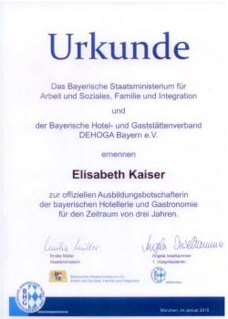 Auszeichnung: Ausbildungsbotschafterin DEHOGA
